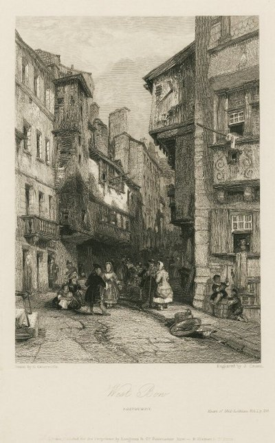 Steel engraving by J. Cousen after a drawing by G. Cattermole of a scene relating to Scott's novel The Heart of Midlothian; Heart of Mid-Lothian, The; West Bow, Edinburgh