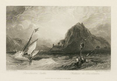 Steel engraving by J. Stephenson after a drawing by H. Melville of a scene relating to Scott's novel The Heart of Midlothian; Heart of Mid-Lothian, The; Dunbarton Castle = Château de Dunbarton