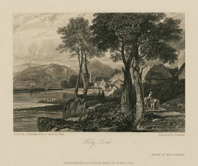 Steel engraving by Edward Finden after a design by J. D. Harding of a scene from Scott's novel The Heart of Midlothian; Heart of Mid-Lothian, The; Holy Loch
