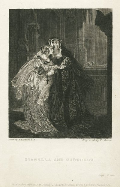 Steel engraving by F. Bacon from a drawing by A. E. Chalon of a scene from Scott's tragedyThe House of Aspen; House of Aspen, The; Isabella and Gertrude