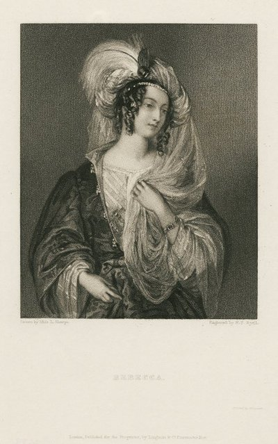 Steel engraving by H. T. Ryall after a drawing by L. Sharpe of a character from Scott's novel Ivanhoe; Ivanhoe; Rebecca