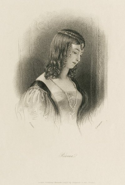 Steel engraving by S. Freeman after a drawing by F. Stone of a character from Scott's novel Ivanhoe; Ivanhoe; Rowena