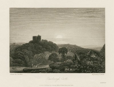 Steel engraving by E. Finden after a drawing by P. de Wint of a scene relating to Scott's novel Ivanhoe; Ivanhoe; Conisborough Castle