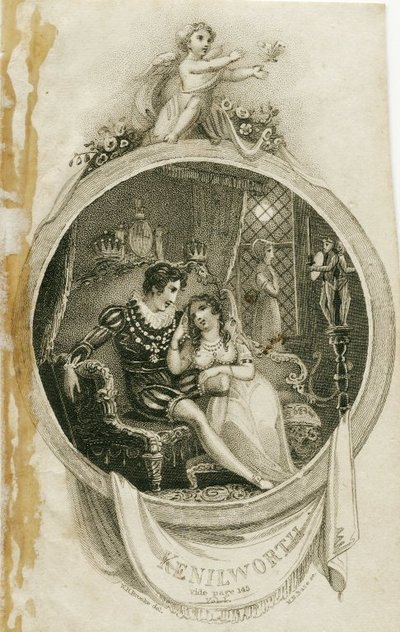 Engraving by M. N. Bate after a drawing by W. H. Brooke of a scene from Scott's novel Kenilworth; Kenilworth