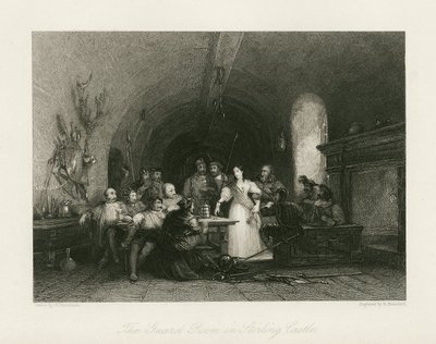 Steel engraving by R. Brandard after a drawing by G. Cattermole of a scene from Scott's poem The Lady of the Lake; Lady of the Lake, The; The Guard Room in Stirling Castle