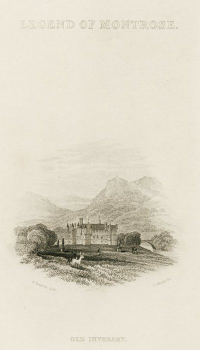 Steel vignette engraving by Charles Heath from a drawing by P. de Wint of a setting for Scott's novel A Legend of Montrose; Legend of Montrose, A; Legend of Montrose: Old Inverary