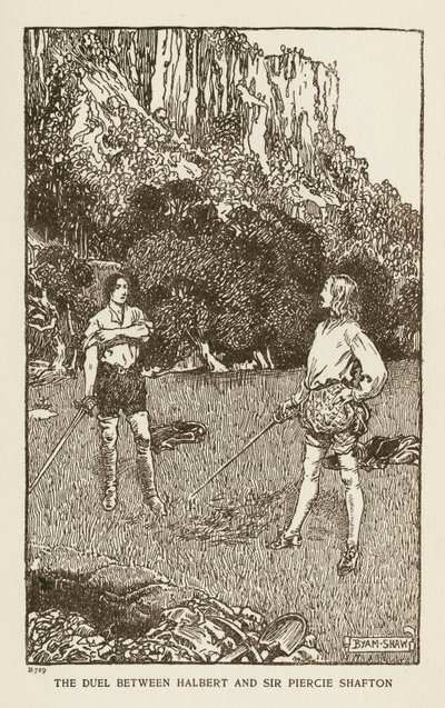 Image from object titled Woodcut engraving by Byam Shaw of a scene from Scott's novel The Monastery; Monastery, The; The Duel between Halbert and Sir Piercie Shafton
