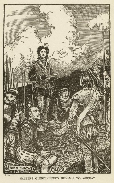 Woodcut engraving by Byam Shaw of a scene from Scott's novel The Monastery; Monastery, The; Halbert Glendinning's Message to Murray