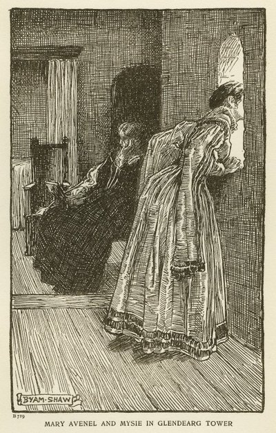 Woodcut engraving by Byam Shaw of a scene from Scott's novel The Monastery; Monastery, The; Mary Avenel and Mysie in Glendearg Tower