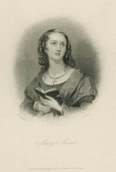 Steel engraving by H. Cook after a drawing by R. B. Faulkner of a character from Scott's novel The Monastery; Monastery, The; Mary Avenel