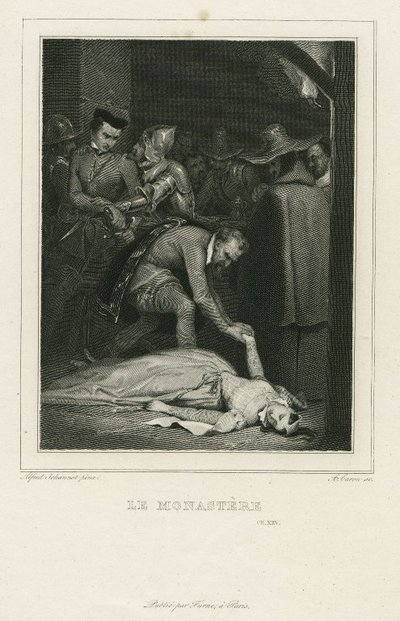Steel engraving by A. Caron after a drawing by A. Johannot of a scene from Scott's novel The Monastery; Monastery, The; Le Monastère