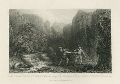 Steel engraving by W. Floyd after a drawing by G. Arnald of a scene from Scott's novel The Monastery; Monastery, The; Sir Piercie Shafton & Halbert Glendinning = Le chevalier Piercie Shafton & Halbert Glendinning