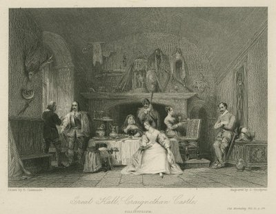 Steel engraving by J. Goodyear after a drawing by G. Cattermole of a scene from Scott's novel Old Mortality; Old Mortality; Great Hall, Craignethan Castle: Tillietudlem