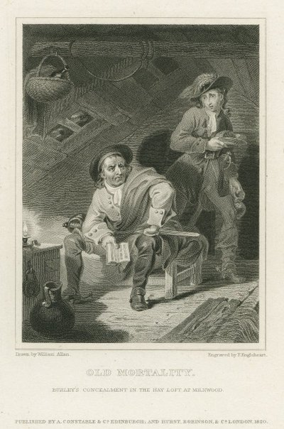 Steel engraving by F. Engleheart after a drawing by W. Allan of characters from Scott's novel Old Mortality; Old Mortality; Old Mortality: Burley's Concealment in the Hay Loft at Milnwood