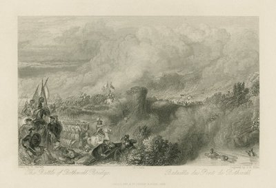 Steel engraving by J. B. Allen after a drawing by W. Harvey of a scene relating to Scott's novel Old Mortality; Old Mortality; The Battle of Bothwell Bridge