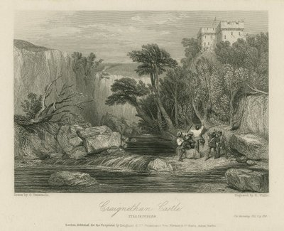 Steel engraving by R. Wallis after a drawing by G. Cattermole of a scene relating to Scott's novel Old Mortality; Old Mortality; Craignethan Castle: Tillietudlem