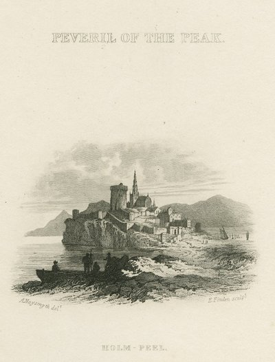 Steel vignette engraving by E. Finden after a drawing by A. Naysmith of a scene relating to Scott's novel Peveril of the Peak; Peveril of the Peak; Peveril of the Peak: Holm-Peel