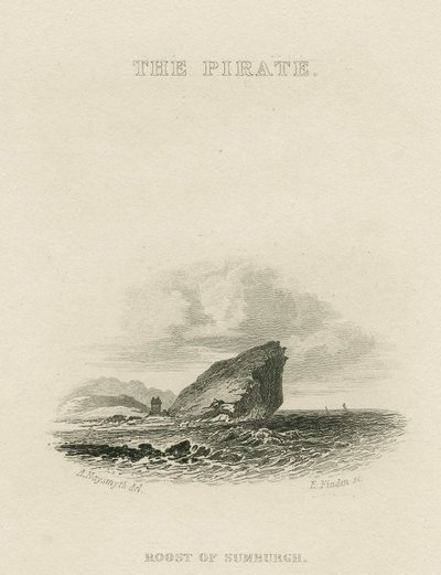 Steel vignette engraving by E. Finden after a drawing by A. Naysmith of a scene relating to Scott's novel The Pirate; Pirate, The; The Pirate: Roost of Sumburgh