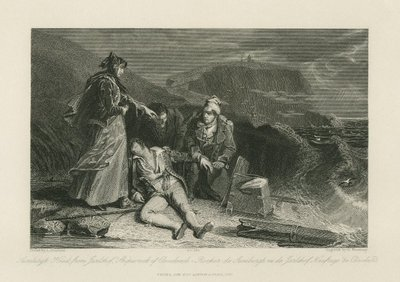 Steel engraving by G. Presbury from a drawing by A. Chisolm of a scene from Scott's novel The Pirate; Pirate, The; Sumburgh Head from Jarlshof: Shipwreck of Cleveland = Rocher de Sumburgh vu de Jarlshoff: Naufrage de...