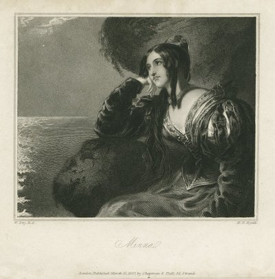 Steel engraving by H. T. Ryall after a drawing by W. Etty of a character from Scott's novel The Pirate; Pirate, The; Minna