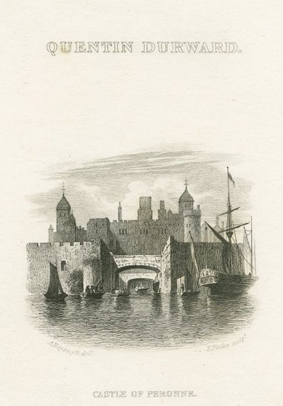 Steel engraving by E. Finden after a drawing by A. Naysmith of a scene relating to Scott's novel Quentin Durward; Quentin Durward; Quentin Durward: Castle of Peronne