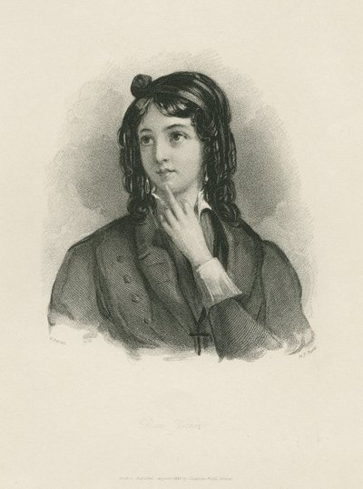 Steel engraving by H. T. Ryall after a drawing by W. Boxall of a character from Scott's novel Rob Roy; Rob Roy; Diana Vernon