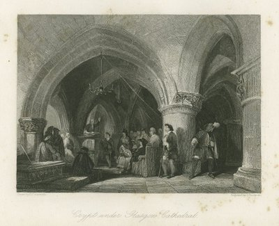Steel engraving by J. Goodyear after a drawing by G. Cattermole of a scene from Scott's novel Rob Roy; Rob Roy; Crypt under Glasgow Cathedral