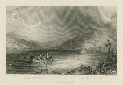 Steel engraving by R. Sands after a drawing by H. Melville of a scene from Scott's novel Rob Roy; Rob Roy; Loch Lomond = Lac de Lomond