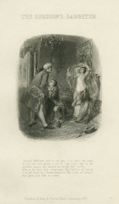 Surgeon's Daughter, The; [Steel engraving by E. Radclyffe after a drawing by W. L. Windus of a scene from Scott's story The Surgeon's Daughter]