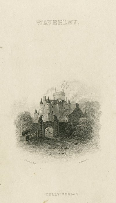 Steel engraving by C. Heath after a drawing by P. De Wint of a scene relating to Scott's novel Waverley; Waverley; or 'Tis Sixty Years Since; Waverley: Tully-Veolan