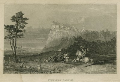 Steel engraving by E. Radclyffe after a drawing by G. Cattermole of a scene from Scott's novel Waverley; Waverley; or 'Tis Sixty Years Since; Stirling Castle