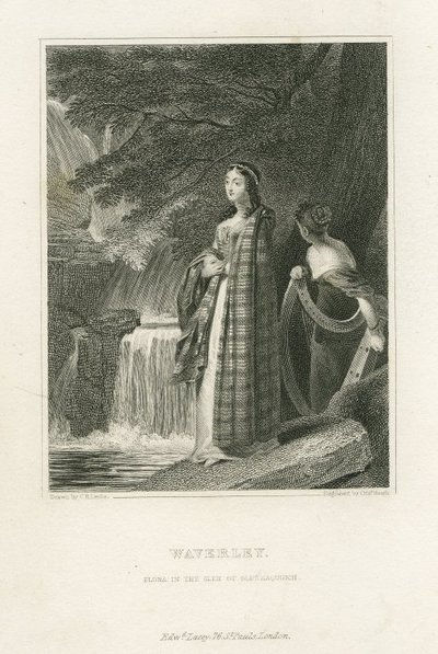 Image from object titled Steel engraving by C. Heath after a drawing by C. R. Leslie of a character from Scott's novel Waverley; Waverley; or 'Tis Sixty Years Since; Waverley: Flora in the Glen of Glennaquoich