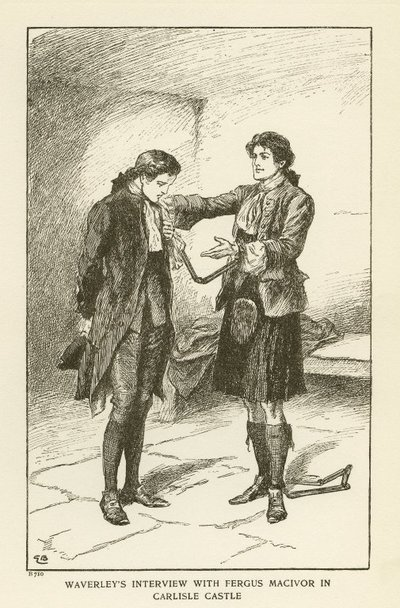 Engraving of a scene from Scott's novel Waverley; Waverley; or 'Tis Sixty Years Since; Waverley's Interview with Fergus MacIvor in Carlisle Castle