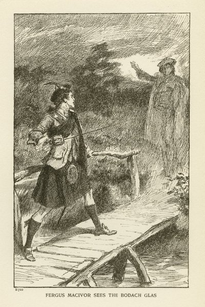Engraving of a scene from Scott's novel Waverley; Waverley; or 'Tis Sixty Years Since; Fergus MacIvor sees the Bodach Glas