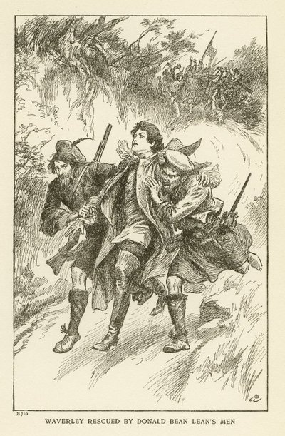 Engraving of a scene from Scott's novel Waverley; Waverley; or 'Tis Sixty Years Since; Waverley Rescued by Donald Bean Lean's Men