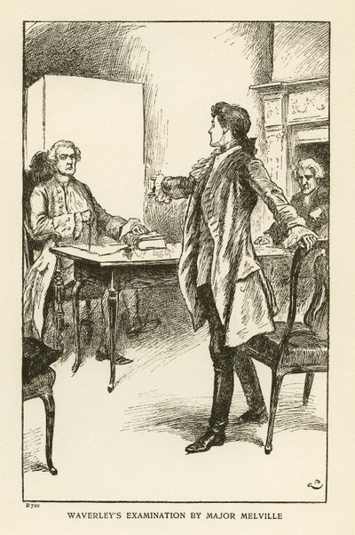 Engraving of a scene from Scott's novel Waverley; Waverley; or 'Tis Sixty Years Since; Waverley's Examination by Major Melville