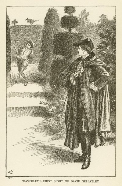 Engraving of a scene from Scott's novel Waverley; Waverley; or 'Tis Sixty Years Since; Waverley's First Sight of David Gellatley