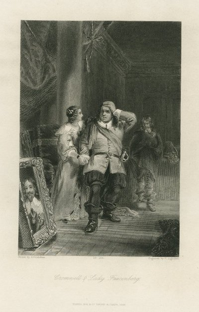 Steel engraving by P. Lightfoot after a painting by A. Chisholm of a scene from Scott's novel Woodstock; Woodstock; Cromwell & Lady Fauconberg