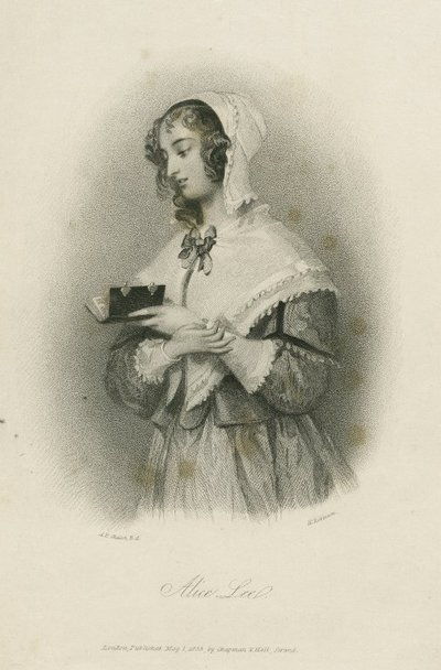 Steel engraving by H. Robinson from a drawing by A. E. Chalon of a character from Scott's novel Woodstock; Woodstock; Alice Lee