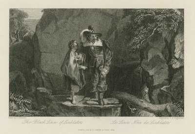 Steel engraving by T. S. Engleheart after a drawing by A. Chisholm of a scene relating to Scott's novel Old Mortality; Old Mortality; The Black-Linn of Linklater