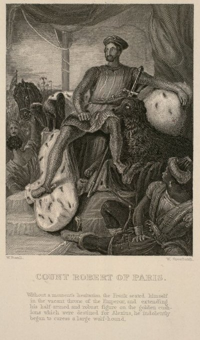 Frontispiece engraving by W. Greatbatch after a drawing by W. Boxall of a scene from Scott's novel Count Robert of Paris; Count Robert of Paris