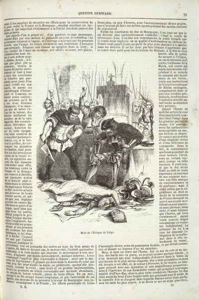 Page from a French translation of Scott's novel Quentin Durward with an illustration engraved by Rouget after E. Frère; Quentin Durward; Mort de l'Evêque de Liège