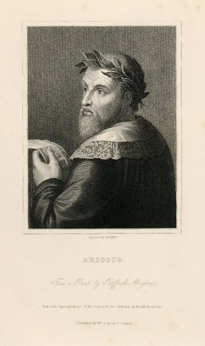 Steel engraved portrait of Ariosto by R. Hart after R. Morghen after D. Dossi; [Portraits]; Ariosto: From a Print by Raffaelle Morghen