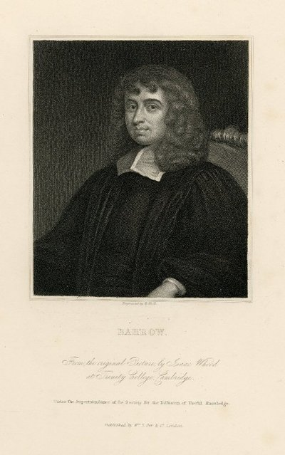 Steel engraved portrait of Isaac Barrow by B. Holl after a painting by I. Whood; [Portraits]; Barrow: From the Original Picture by Isaac Whood at Trinity College, Cambridge