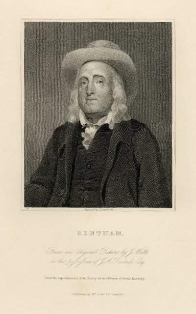 Steel engraved portrait of Bentham by J. Posselwhite after a painting by G.F. Watts; [Portraits]; Bentham