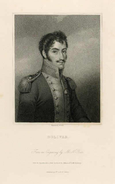Steel engraved portrait of Bolivar by W. Holl after a print by M. N. Bate; [Portraits]; Bolivar: From an Engraving by M. N. Bate