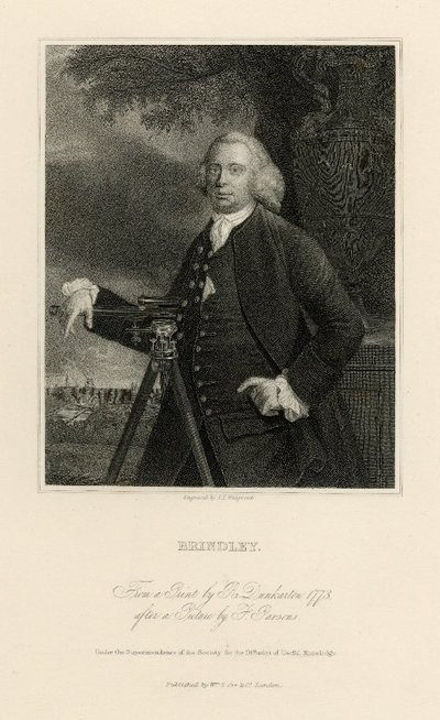 Steel engraved portrait of James Brindley by J. T. Wedgwood after a picture by F. Parsons; [Portraits]; Brindley: From a Picture by R. Dunkarton 1773, after a Picture by F. Parsons