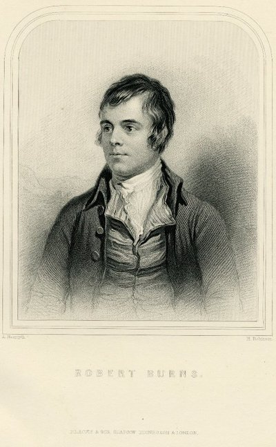 Steel engraved portrait of Burns by H. Robinson after a picture by A. Naysmith; [Portraits]; Robert Burns