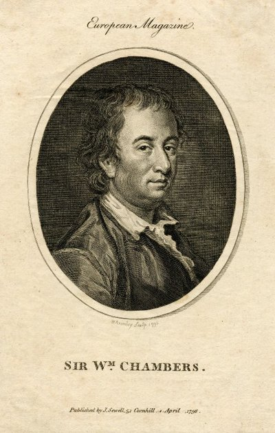 Engraved portrait of Sir William Chambers by W. Bromley after F. Cotes; Life of Kemble; Sir Wm. Chambers