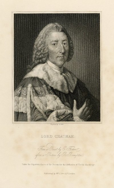 Steel engraved portrait of Lord Chatham by W. Holl from a picture by E. Brompton; Journal of Sir Walter Scott; Lord Chatham: From a Print by E. Fisher after a Picture by R. Brompton